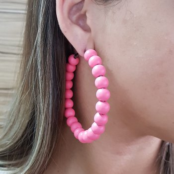 Argola Madeira Pink