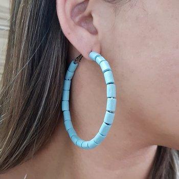 Argola Grande Madeira Azul