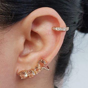 Kit De Brinco Ear Cuff e Piercing Fake Zircônia Do...