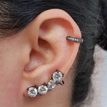 Kit De Brinco Ear Cuff e Piercing Fake Zircônia Gr...