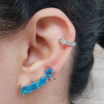 Kit De Brinco Ear Cuff e Piercing Fake Zircônia Pr...