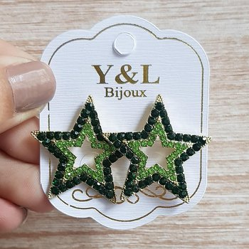 Brinco Médio Estrela Dourado Verde
