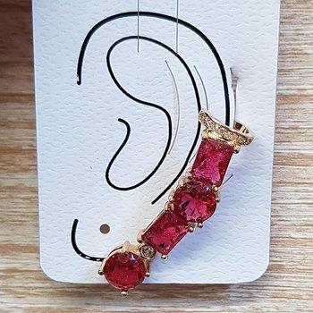Brinco Médio Ear Cuff Pedra Fusion Dourado Vermelh...