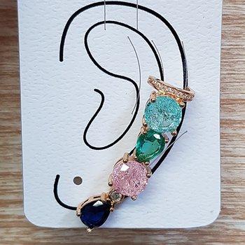 Brinco Médio Ear Cuff Pedra Fusion Dourado Colorid...