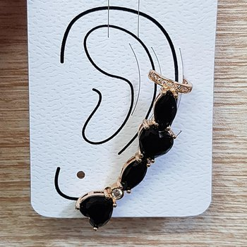 Brinco Médio Ear Cuff Pedra Fusion Dourado Preto