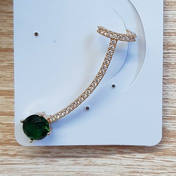 Brinco Médio Ear Cuff Zircônia Dourado Verde