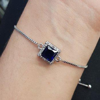 Pulseira Gravatinha Zircônia Quadrado Prata Azul M...