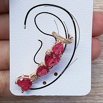 Brinco Ear Cuff Ùnico Pedra Fusion Coração Dourado...