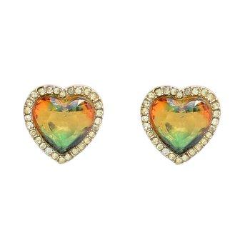 Brinco Pequeno Coração Pedra Rainbow Dourado Verde...