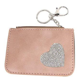 Chaveiro Porta Moeda Coração Rosa