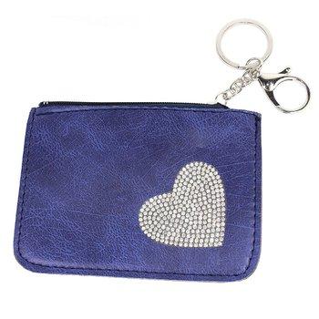 Chaveiro Porta Moeda Coração Azul