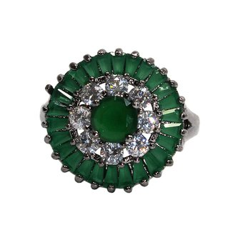 Anel Zircônia Pendulum Grafite Verde *