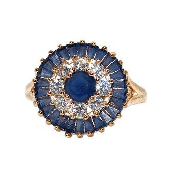 Anel Zircônia Pendulum Dourado Azul Marinho *