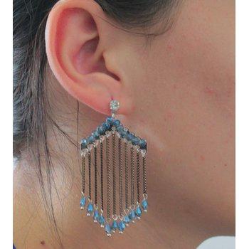 Brinco Chiara Prata Azul Claro