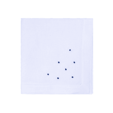 Guardanapo Cambraia de Linho Branco com poas azul ... - ATELIER COUVERT