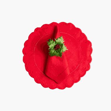 Guardanapo Cambraia de Linho Vermelho - ATELIER COUVERT