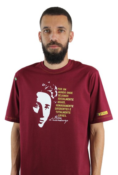 Camiseta Rosa Luxemburgo Bordô