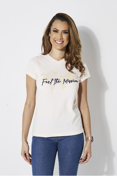 Camiseta Baby Look Feel The Mission Bege - IPROMOVE