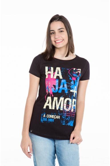 Camiseta Long Baby Look Haja Mais Amor