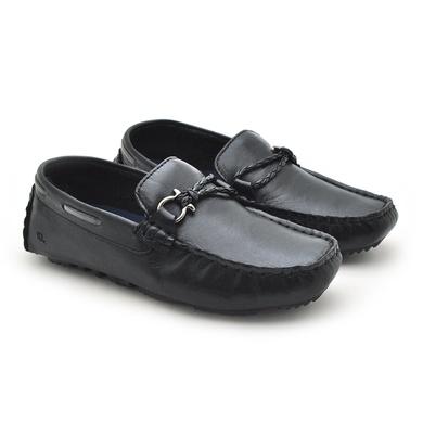Mocassim Bali Infantil de Couro - Preto/Silver - 03962K-2562 - Calçados Laroche