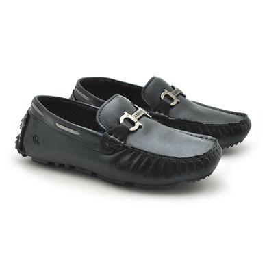 Mocassim Bali Infantil de Couro - Preto/Silver - 03963K-2591 - Calçados Laroche