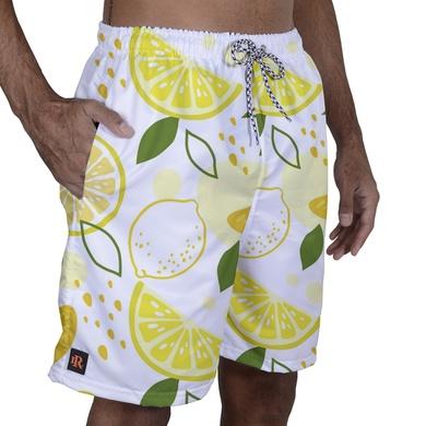 Short Praia Laroche - Branco/Amarelo - 02157-2930 - Calçados Laroche