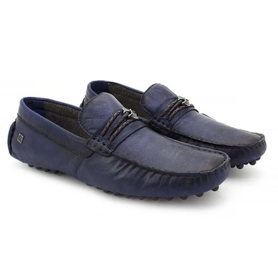 Drive Aruba Couro Azul em Tressê - 03807-2119 - Calçados Laroche
