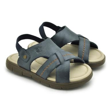 Sandália Babie Summer em Couro-Azul - 04581-2239 - Calçados Laroche