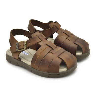 Sandália Babie Summer em Couro-Whisky - 04583-2227 - Calçados Laroche
