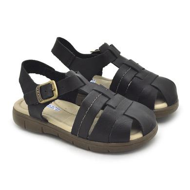 Sandália Babie Summer em Couro-Preto - 04583-2228 - Calçados Laroche