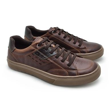 Sapatenis em Couro Casual Masculino Connect - Brown - 07301-2632 - Calçados Laroche
