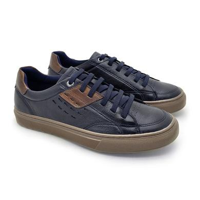 Sapatenis em Couro Casual Masculino Connect - Royal - 07301-2837 - Calçados Laroche