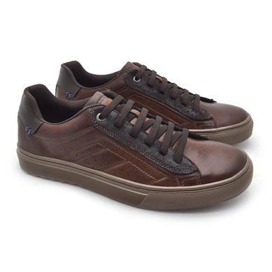 Sapatenis em Couro Casual Masculino Connect - Brown - 07302-2632 - Calçados Laroche