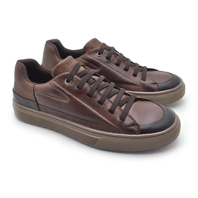 Sapatenis em Couro Casual Masculino Connect - Brown - 07303-2632 - Calçados Laroche