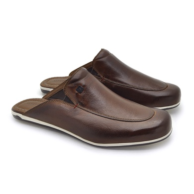 Mule Masculino Dumont em Couro - Whisky - 03713-2573 - Calçados Laroche
