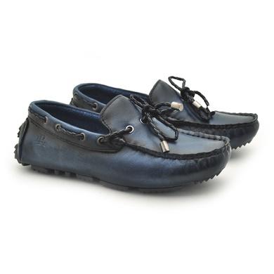 Mocassim Bali Infantil de Couro - Marinho - 03961K-2574 - Calçados Laroche
