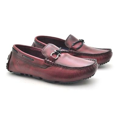 Mocassim Bali Infantil de Couro - Vinho - 03962K-2590 - Calçados Laroche