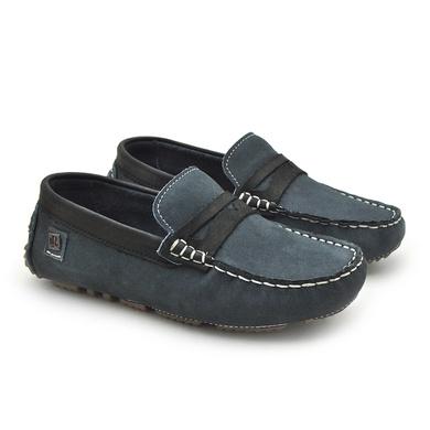 Mocassim Cancun Infantil de Couro - Jeans/Preto - 04253-2559 - Calçados Laroche