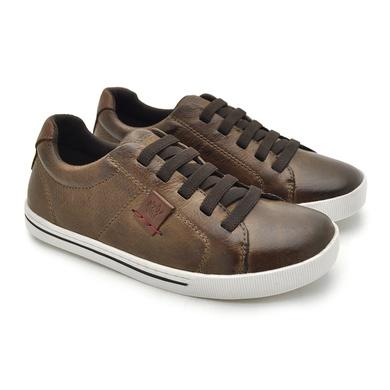 Sapatenis Infantil City Masculino em Couro - Chocolate/Brown - 04153-2673 - Calçados Laroche
