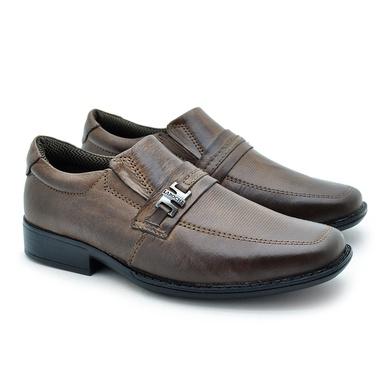 Sapato Social Fortaleza Infantil em Couro com Fivela- Chocolate - 02664-1560 - Calçados Laroche