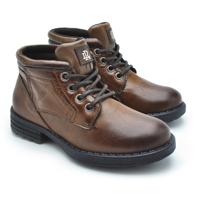 Bota Infantil Montana em Couro - Whisky/Chocolate - 04751K-2650 - Calçados Laroche