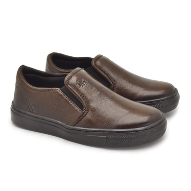 Slip On Yate Infantil Stratus em Couro Marrom - 07854K-1560 - Calçados Laroche