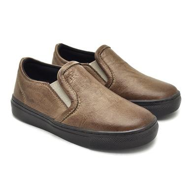 Slip On Yate Infantil Stratus em Couro Areia - 07854K-1895 - Calçados Laroche
