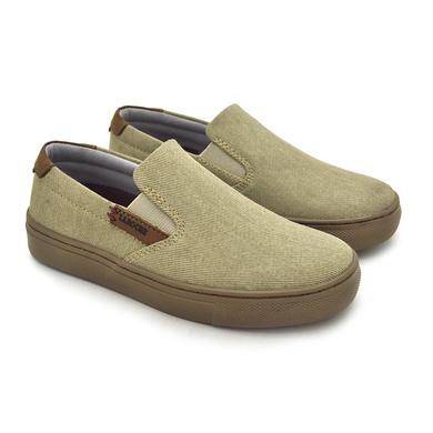 Slip On Yate Infantil Stratus em Lona Bege/Whisky - 07876-3006 - Calçados Laroche