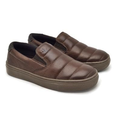 Slip On Yate Infantil Stratus em Couro - Brown - 07955-2632 - Calçados Laroche