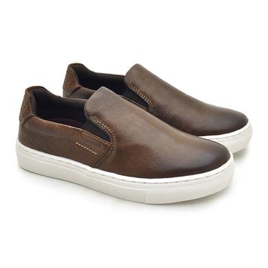 Slip On Yate Infantil Stratus em Couro - Chocolate/Whisky - 07960-3008 - Calçados Laroche