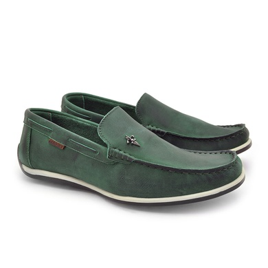 Mocassim Buzios Masculino de Couro - Verde Bandeira - 03244-0055 - Calçados Laroche