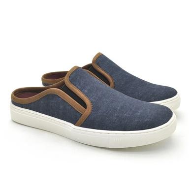 Mule Masculino Stratus Oxford Azul Jeans - 07803-0604 - Calçados Laroche