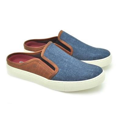 Mule Masculino Stratus Oxford Azul Jeans - 07803-2297 - Calçados Laroche