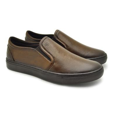 Slip On Yate em Couro Masculino Stratus Marron - 07804-1560 - Calçados Laroche